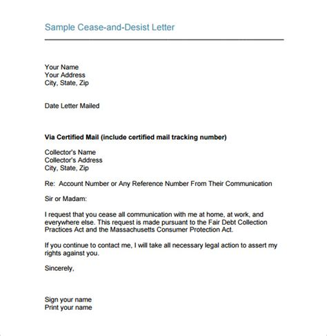 cease and desist letter template 16 free sle exle
