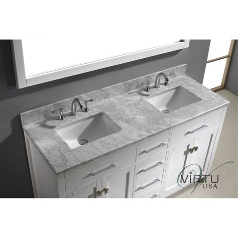 Virtu Usa Md 2060 Wmsq Caroline 60 Double Square Sinks 2 Sink Bathroom Vanity