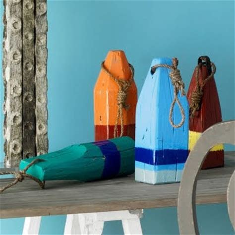 painted wooden lobster buoys for decor