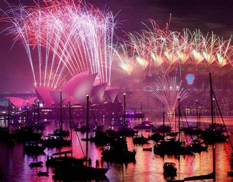 new year 2015 australia view of the midnight fireworks above the sydney opera
