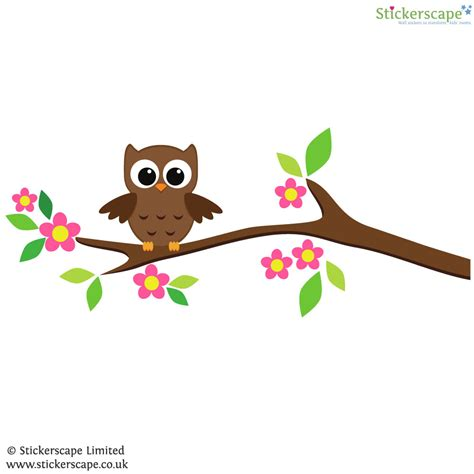 owl wall stickers owl on a tree branch wall sticker stickerscape uk