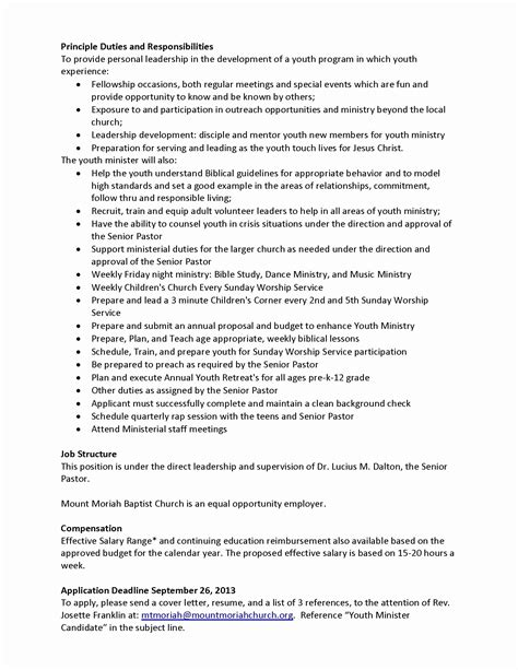 Ministry Resume Templates by 12 New Ministry Resume Templates Resume Sle Ideas