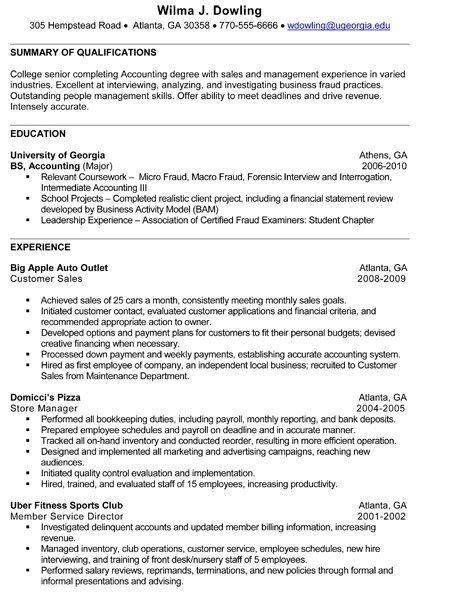 accounting intern resume exles resume for accounting student best resume collection