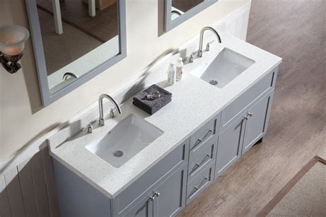 two sink bathroom countertop ariel hamlet 73 quot double sink vanity set with white quartz