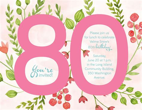 free 80th birthday card template birthday invitation template 80th birthday