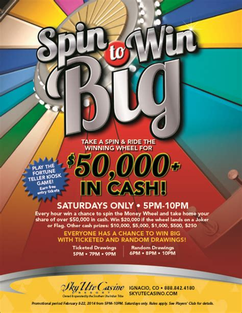 Spin To Win Money - sky ute casino resort spin to win big the money wheel