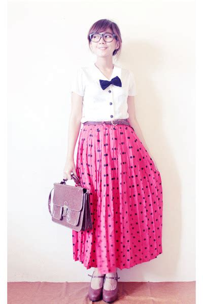 Maxi Clara Polka maxi polkadot vintage skirts brown leather vintage bags quot i m white and and