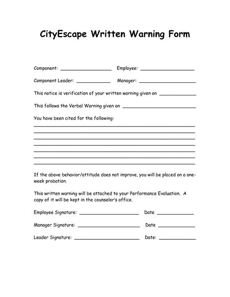Written Warning Template Cyberuse Employee Written Warning Template Free