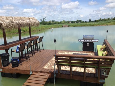 Floating Tiki Bar Floating Dock Tiki Bar On Our Pond Outdoor