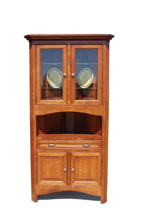 Corner Hutch Cabinet For Dining Room by Amish West Lake Corner Hutch