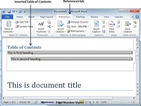 Microsoft Word Insert Table Of Contents by Table Of Contents In Word 2010