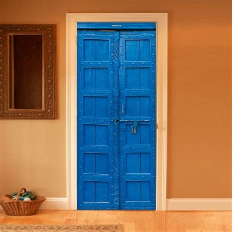 Full Wall Mural Decals style your door trompe l oeil blue door by couture deco