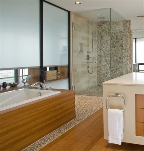 contemporary bathroom flooring polished pebble tile and master bath tiles