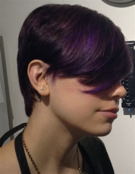 treading hair colour 2015 cool short haircut with purple highlights indianapolis