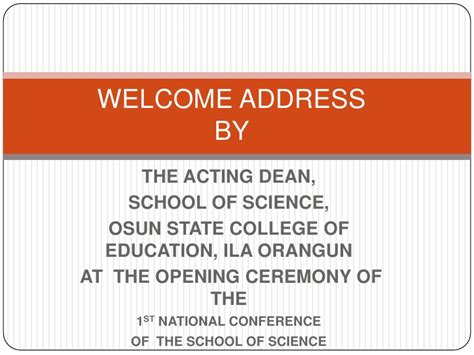 Welcome To The Family Speech Sles deans welcome address