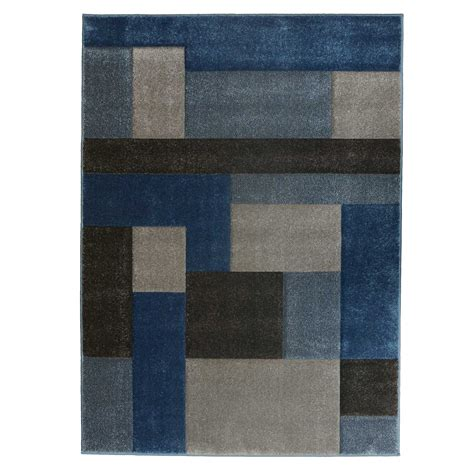 Grey And Blue Rug by Cosmic Tetris Rug In Blue And Grey