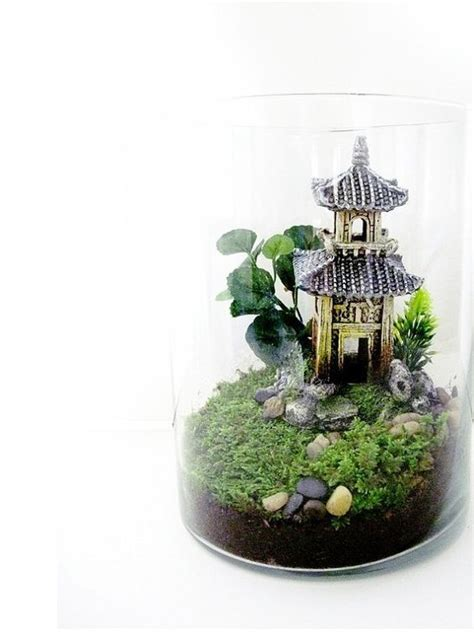 miniature indoor plants oriental terrarium chinese pagoda landscape with live