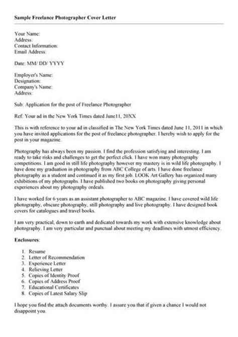 cover letter for freelance writer following are the list of photography cover letters