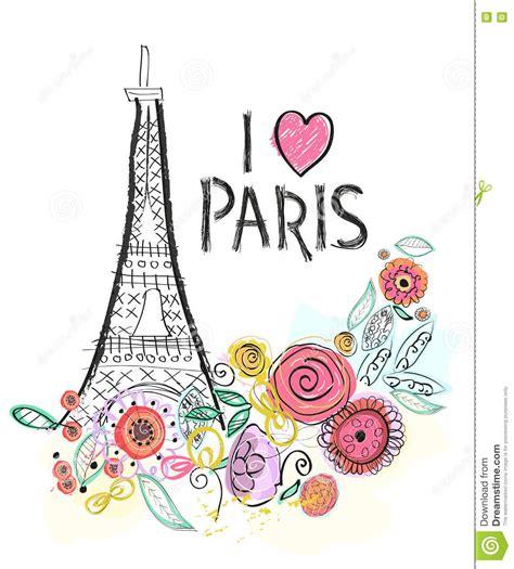 imagenes de i love you paris eiffel tower and summer flowers i love paris hand drawn
