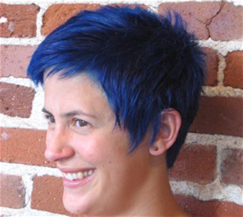 Bright Blue Short Pixie Hair Cut   Indianapolis Hair Salon