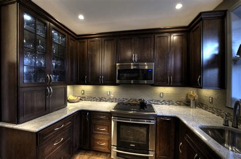 dark kitchen cabinets ideas for installing kashmir white granite as home surface