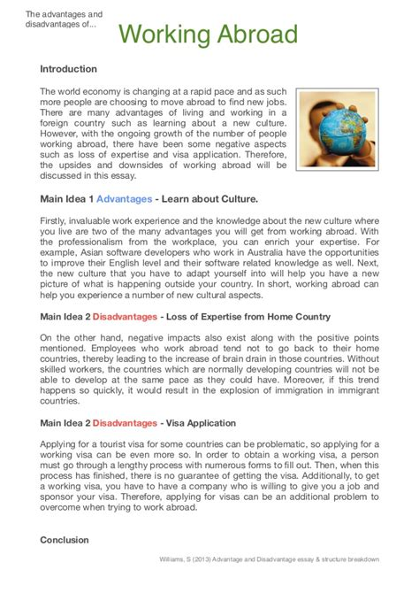 Living Abroad Essay by Advantage And Disadvantage Int