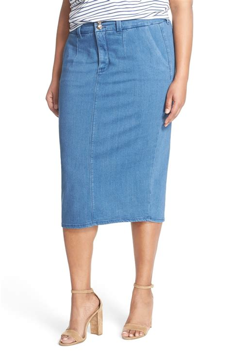 mccarthy seven7 stretch denim midi skirt plus