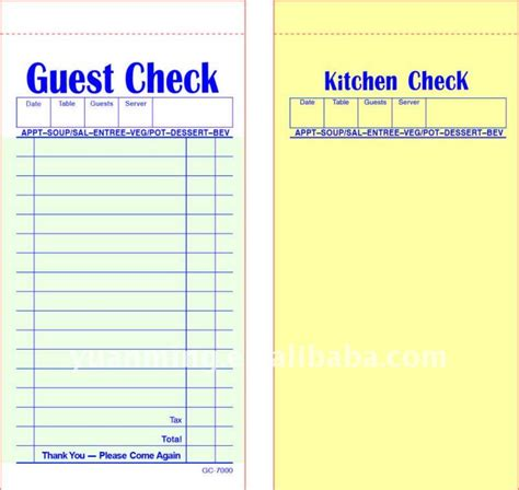 restaurant guest check template two part restaurant guest check book buy guest check pad