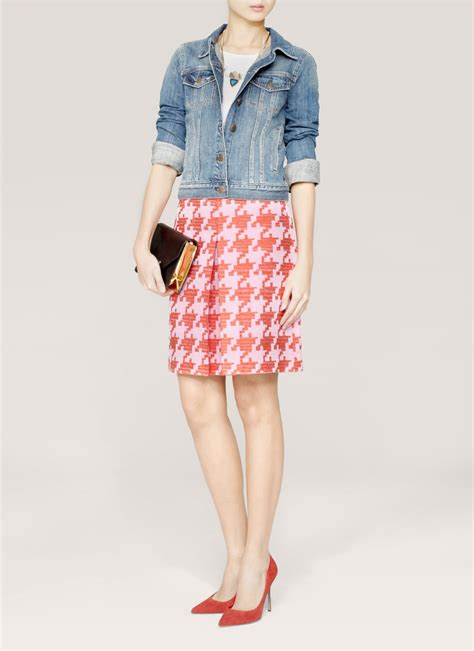 Jaket Houndstooth Pink 2 Pockets Apl Pita lyst j crew pixelated houndstooth skirt in white