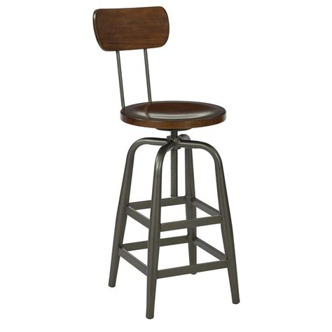 Ave Six Bar Stools by Ave Six Swivel Pewter And Walnut Stool With Back Slvns345