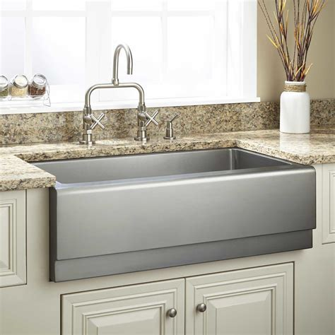 "33"" Optimum Stainless Steel Farmhouse Sink   Beveled"