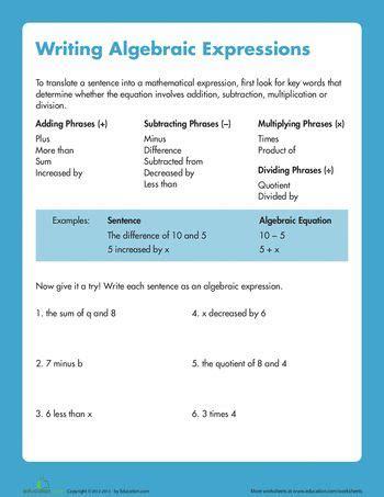 Writing Algebraic Expressions Worksheet by Writing Algebraic Expressions