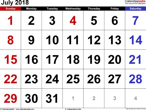 Calendar July 2018 July 2018 Calendars For Word Excel Pdf