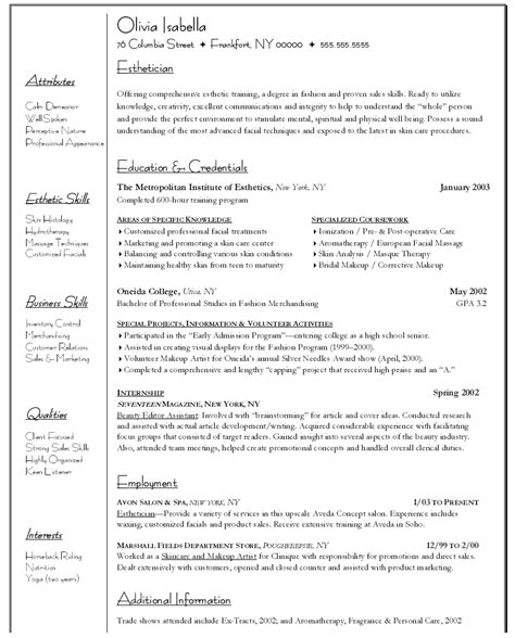 esthetician resumes exle resume exle resume for esthetician