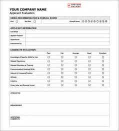 candidate evaluation template sle applicant evaluation form sle forms