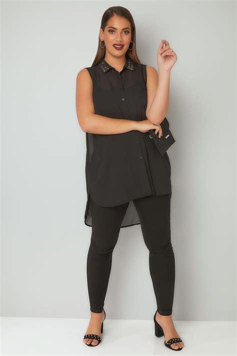 La Senza Chemise Size Xs 1 chemise mousseline sans manches avec col ornement 233 grandes tailles 16 224 36