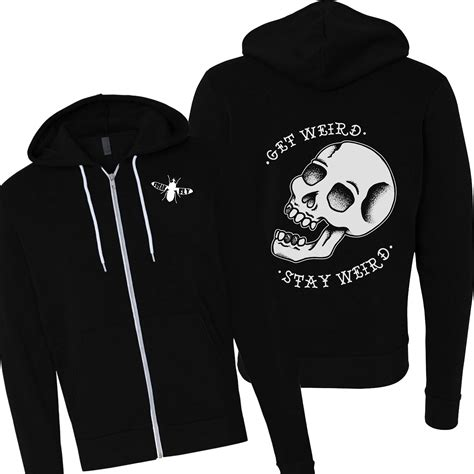 tattoo flash hoodie get weird hoodie punk skulls tattoo flash rockabilly