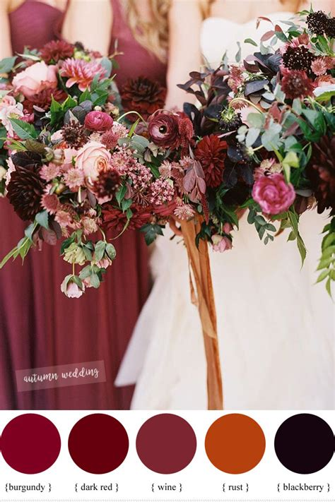 colour themes with red burgundy dark red rust and wine fall wedding color schemes