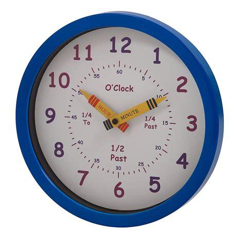 boys bedroom clock learning time wall clock children s boys bedroom nursery school blue analogue ebay