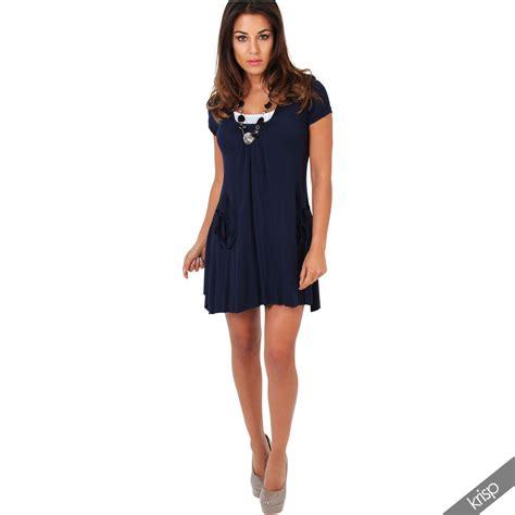 3in1 Set by Damen 3in1 Set Tunika Kleid Mit Top Und Halskette