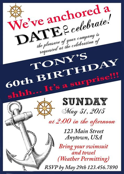 on a boat theme 60th birthday invitations over the hill party birthday
