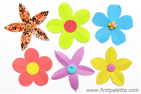 How To Make Paper Flower Petals - folding paper flowers craft 5 petal flowers