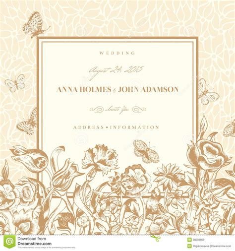 Wedding Card Vintage Vector by Vector Vintage Wedding Card Royalty Free Stock Images