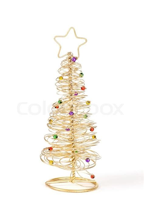 a small golden wire christmas tree with coloured baubles