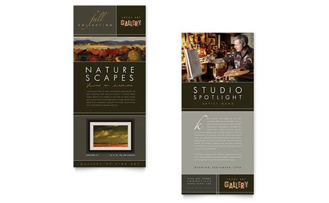 art gallery artist rack card template word publisher