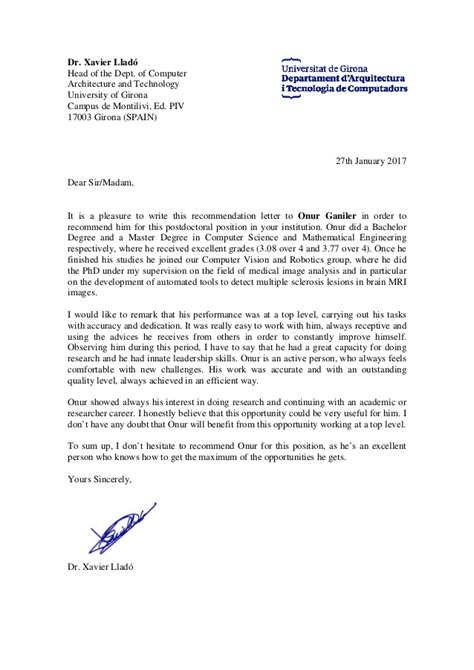 recommendation letter from phd xavier llado