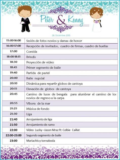 programa de recepcion de boda itinerario del d 237 a foro ceremonia nupcial bodas com mx