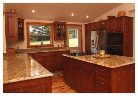 rustic cherry kitchen with glass doors in columbia md