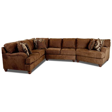 klaussner sectional sofa klaussner declan three sectional sofa with raf