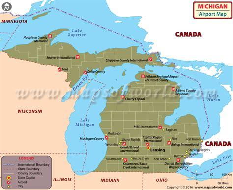 map of usa showing michigan state michigan airports map airports in michigan
